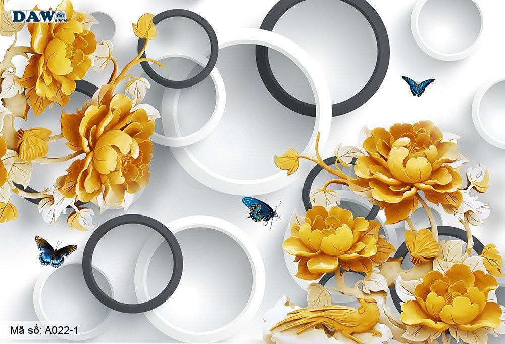 Tranh dán tường 3D, tranh dán tường Hàn Quốc, tranh ngọc A022-1, Cành hoa vàng, bướm bay, vòng tròn giả ngọc nổi 3D