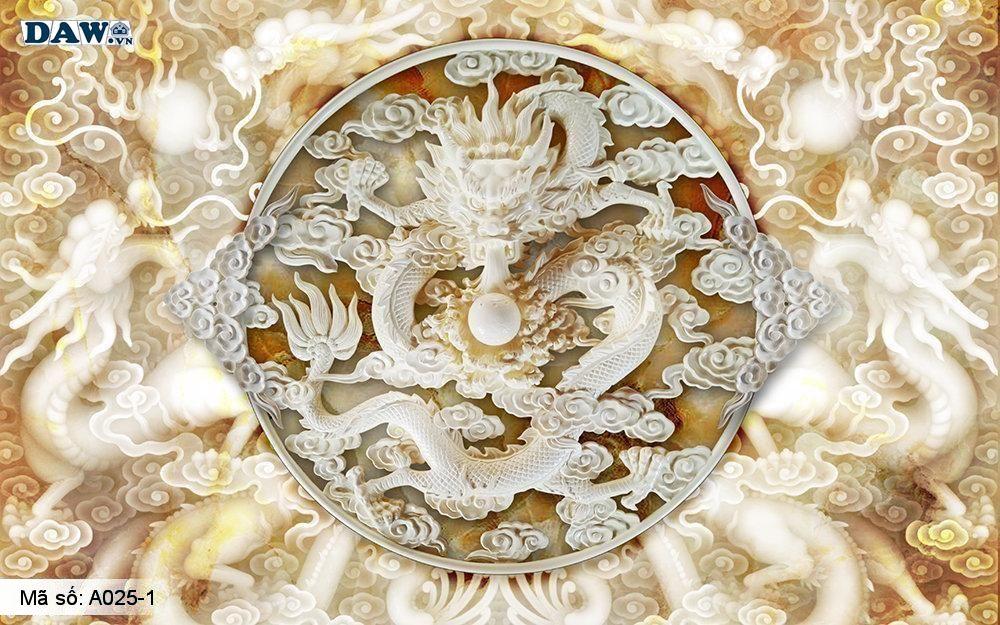 Tranh dán tường 3D, tranh dán tường Hàn Quốc, tranh ngọc A025-1, Rồng phượng, hoa văn 3D giả ngọc nổi