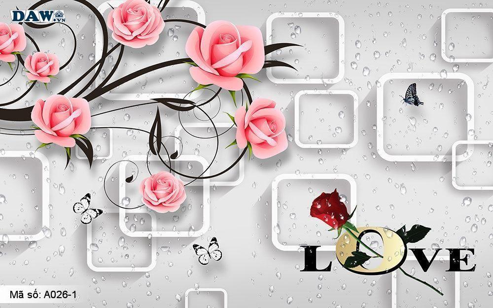 Tranh dán tường 3D, tranh dán tường Hàn Quốc, tranh ngọc A026-1, Cành hoa, tường giả ngọc nổi 3D
