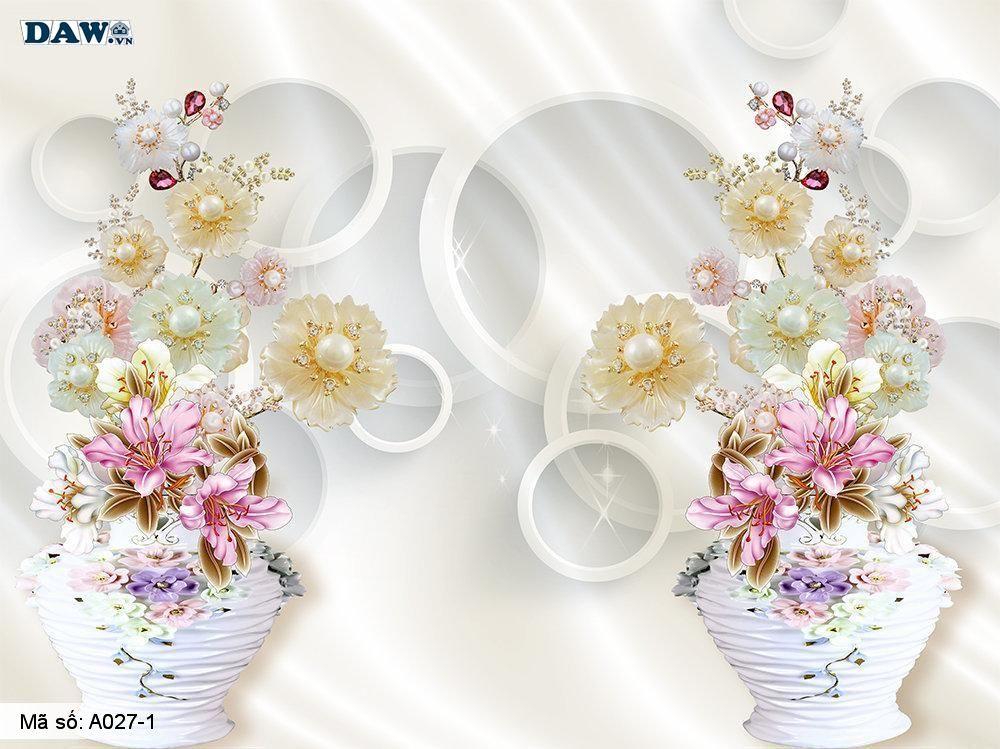 Tranh dán tường 3D, tranh dán tường Hàn Quốc, tranh ngọc A027-1, Hoa văn, bình hoa, tường giả ngọc nổi 3D