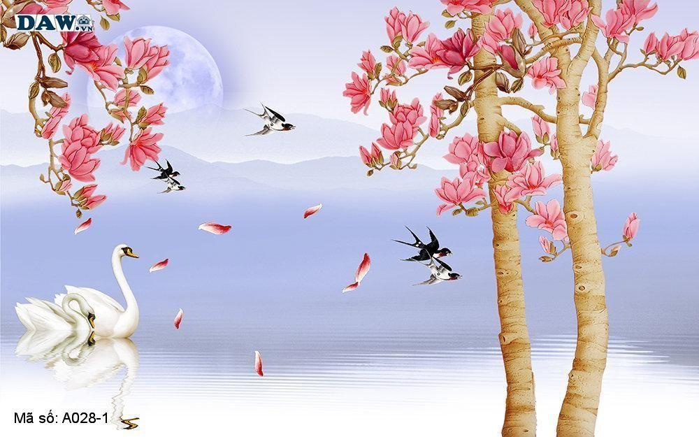 Tranh dán tường 3D, tranh dán tường Hàn Quốc, tranh ngọc A028-1, Hoa văn, dòng sông, nước, cành hoa, chim giả ngọc nổi 3D