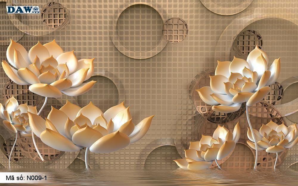 Tranh dán tường giả ngọc, Tranh ngọc 3D, Tranh dán tường Tphcm N009-1, Cành hoa 3D màu vàng kim, sọc ca rô, tranh khổ ngang