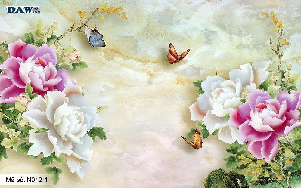 Tranh dán tường giả ngọc, Tranh ngọc 3D, Tranh dán tường Tphcm N012-1, Cành hoa 3D màu vàng xanh, tím, tranh khổ ngang