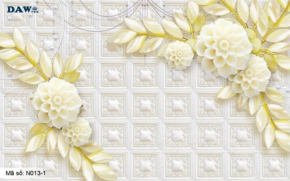 Tranh dán tường giả ngọc, Tranh ngọc 3D, Tranh dán tường Tphcm N013-1, Cành hoa 3D màu vàng xanh, gạch giả tường, tranh khổ ngang