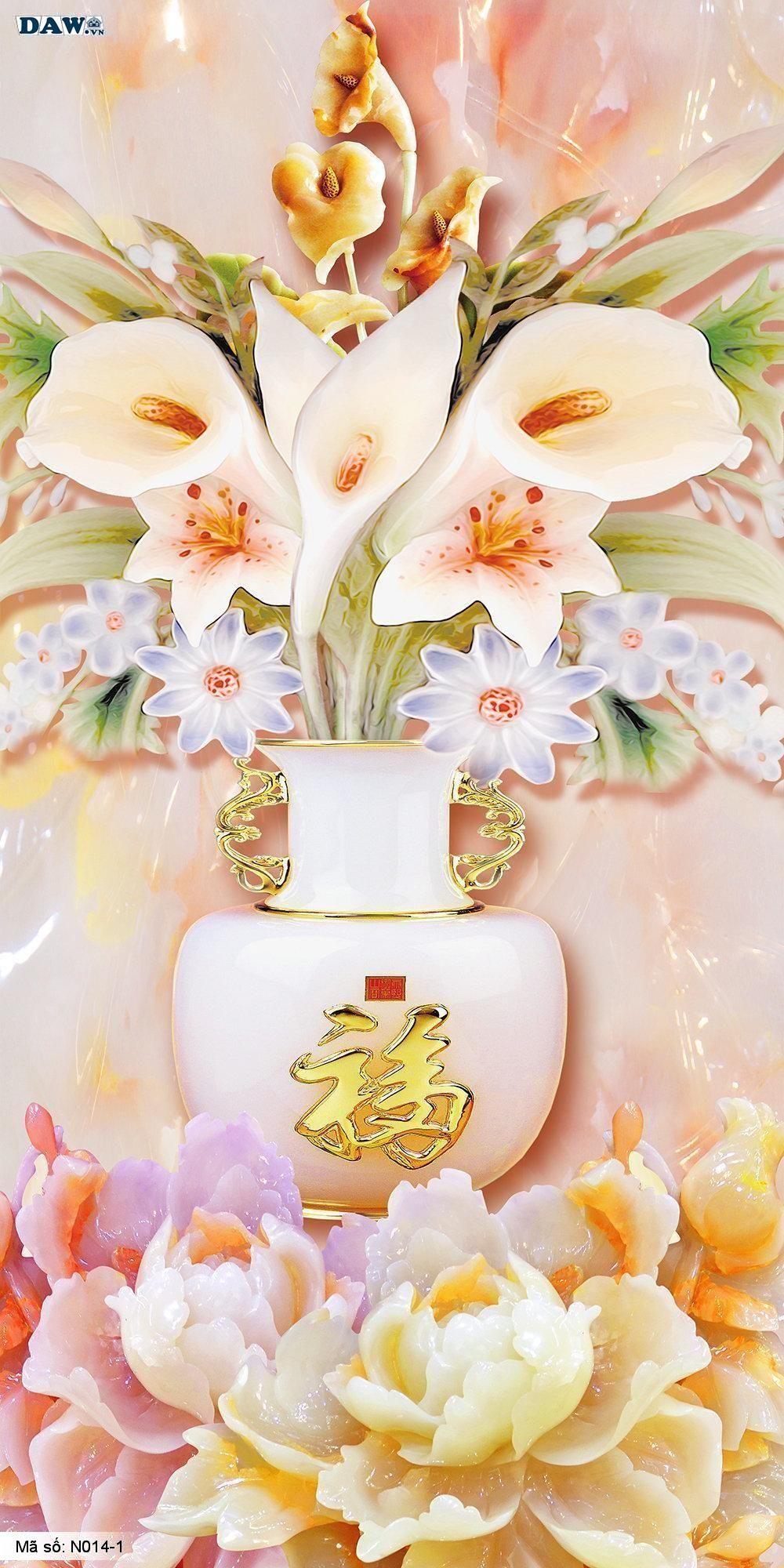 Tranh dán tường giả ngọc, Tranh ngọc 3D, Tranh dán tường Tphcm N014-1, Cành hoa, bình hoa 3D màu vàng cam xanh, tranh khổ đứng