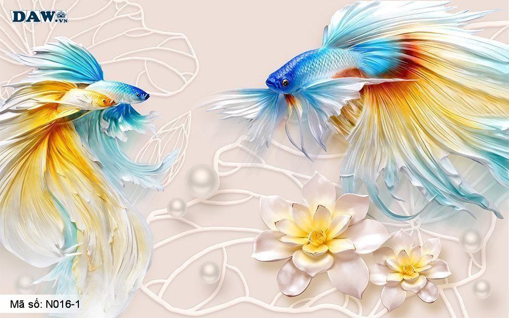 Bộ sưu tập tranh dán tường 3D cá chép, hồ cá chép, hoa sen cá chép, đẹp, độc đáo