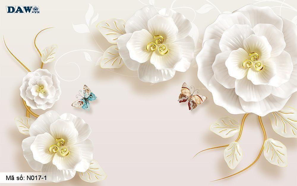 Tranh dán tường giả ngọc, Tranh ngọc 3D, Tranh dán tường Tphcm N017-1, Hoa văn 3D màu vàng hồng, bông hoa, tranh khổ ngang