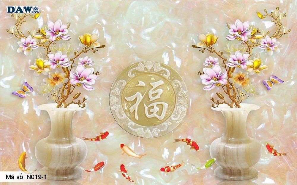 Tranh dán tường giả ngọc, Tranh ngọc 3D, Tranh dán tường Tphcm N019-1, Cành hoa, bình hoa 3D màu vàng, cá, tranh khổ ngang
