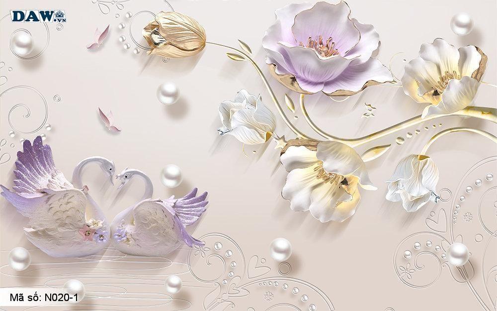 Tranh dán tường giả ngọc, Tranh ngọc 3D, Tranh dán tường Tphcm N020-1, Cành hoa 3D màu vàng tím, chim, tranh khổ đứng