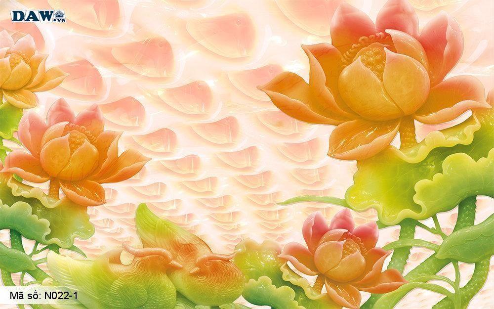 Tranh dán tường giả ngọc, Tranh ngọc 3D, Tranh dán tường Tphcm N022-1, Cành hoa 3D màu vàng cam xanh, tranh khổ ngang
