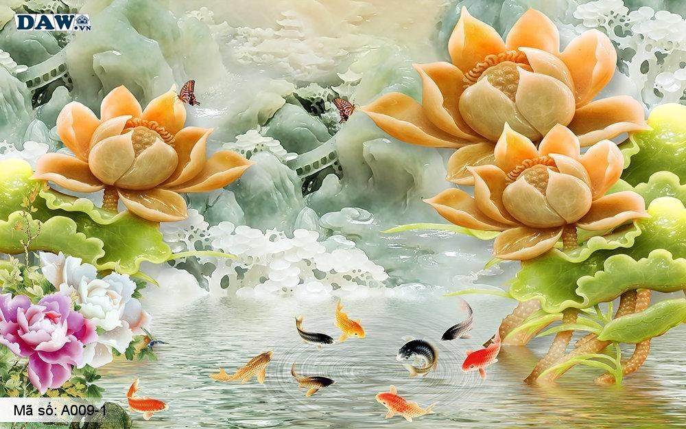 Tranh dán tường 3D, tranh dán tường Hàn Quốc, tranh ngọc A009-1, Hoa văn, động vật, thực vật, chim, cá giả ngọc nổi 3D, tranh khổ ngang