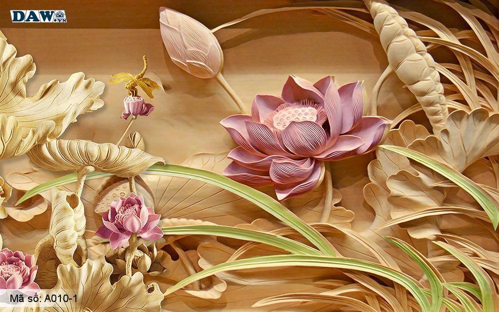Tranh dán tường 3D, tranh dán tường Hàn Quốc, tranh ngọc A010-1, Cành hoa, hoa văn, lá giả ngọc nổi 3D