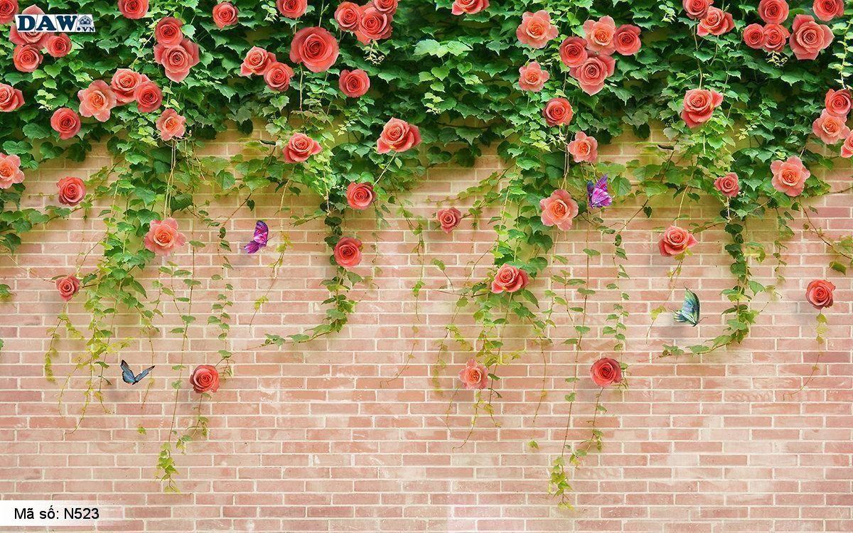 Tranh dán tường dây leo, hoa leo tường, giàn hoa treo tường gạch đỏ N523