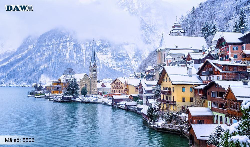 Tranh dán tường phong cảnh, thị trấn Thị trấn Hallstatt của nước áo vào mùa đông 5506