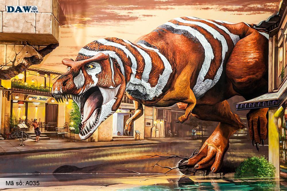Tranh dán tường 3D, Tranh dán tường khung long, khủng long bạo chúa 3D A035