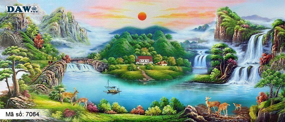 Tranh dán tường phong thủy, thủy mạc, thác nước, cuộc sống yên bình, tiên cảnh 7064