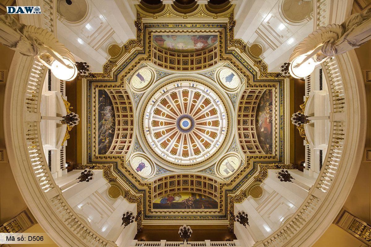 Tranh dán trần, trần nhà đẹp, tranh dán trần 3D D506