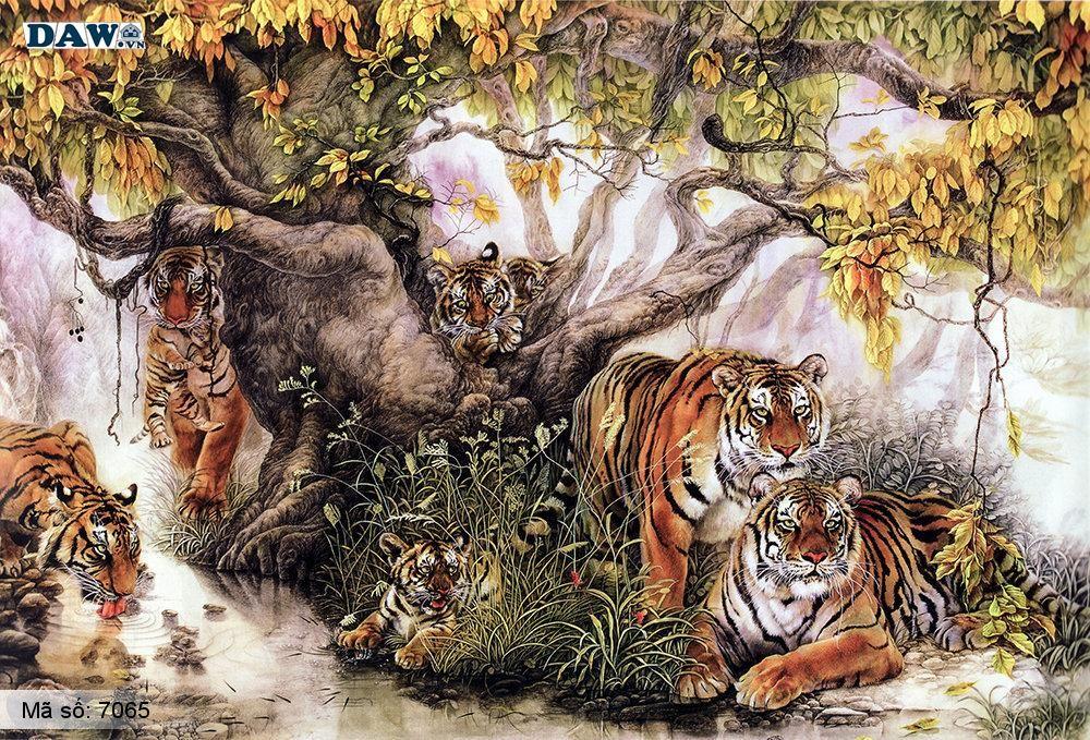 Tranh dán tường con hổ, Gia đình hổ quây quần bên nhau 7065