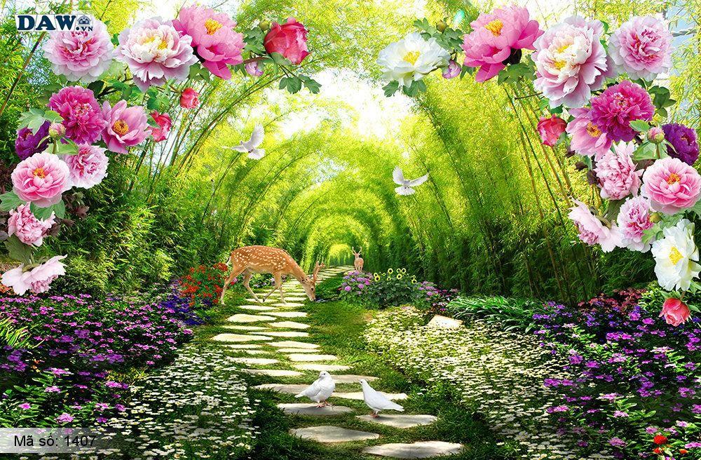 Tranh dán tường phong cảnh, thiên nhiên phong cảnh đẹp, tạo chiều sâu cho phòng 1407