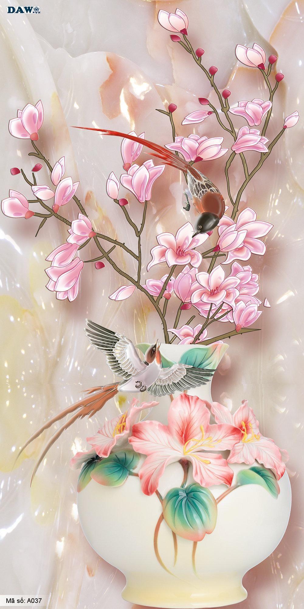 Tranh dán tường 3D, bình hoa đẹp hai con chim A037