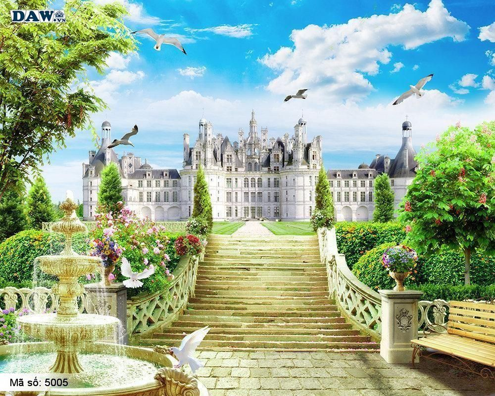 Tranh dán tường góc phố, tòa lâu đài sang trọng trên khu đất rộng bên bãi biển, trời xanh mây trắng chim bay 5005