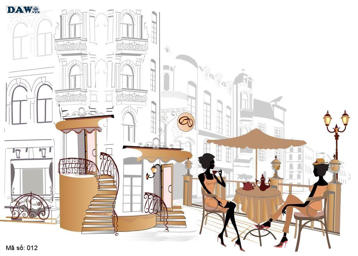 Tranh dán tường cổ điển, tranh dán tường Hàn Quốc 012, khu phố cổ điển, quán cafe, sầm uất, nghệ thuật