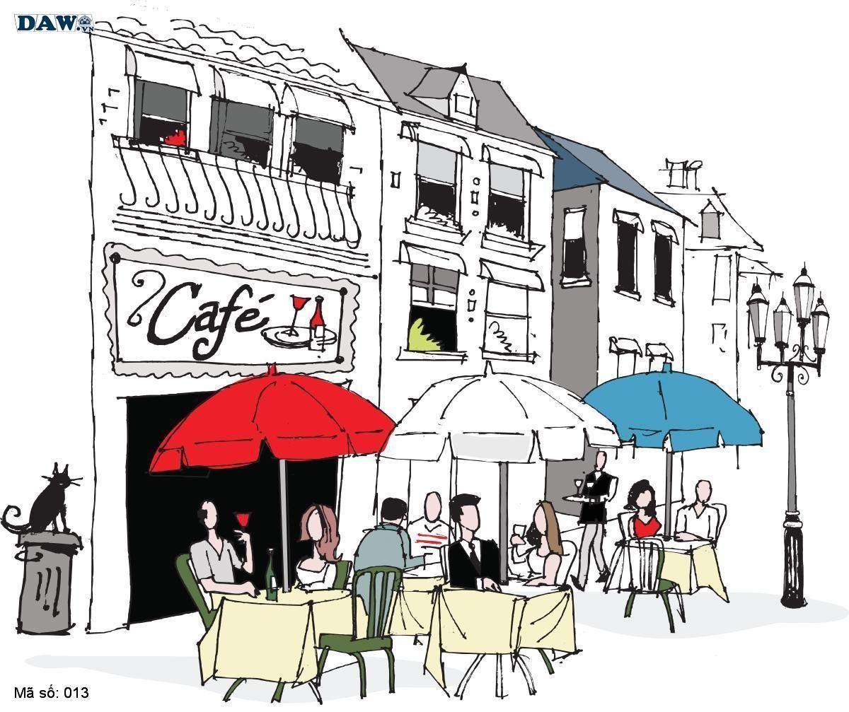 Tranh dán tường cổ điển, tranh dán tường Hàn Quốc 013, khu phố cổ điển, quán cafe, sầm uất, nghệ thuật