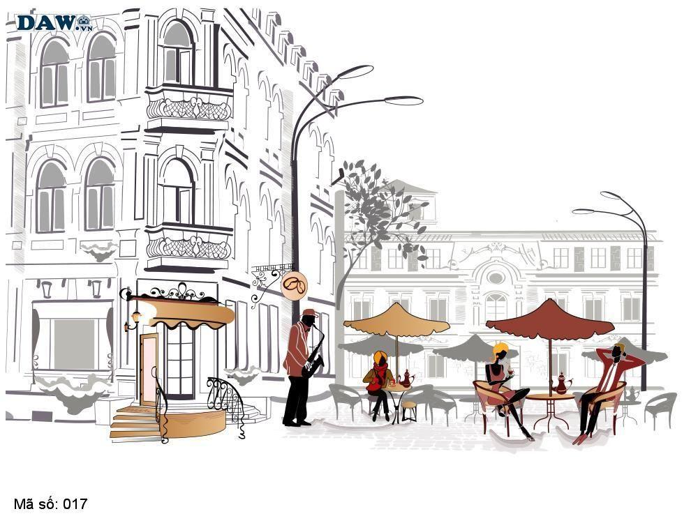 Tranh dán tường cổ điển, tranh dán tường Hàn Quốc 017, khu phố cổ điển, quán cafe, sầm uất, nghệ thuật