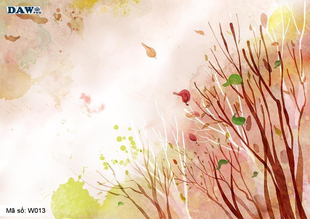 Tranh dán tường 3D Hàn Quốc, phong cảnh thiên nhiên vào mùa thu W013