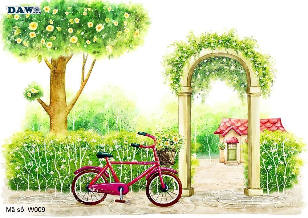 Tranh dán tường 3D Hàn Quốc, tranh dán tường nghệ thuật, công viên, cây xanh, hoa lá W009