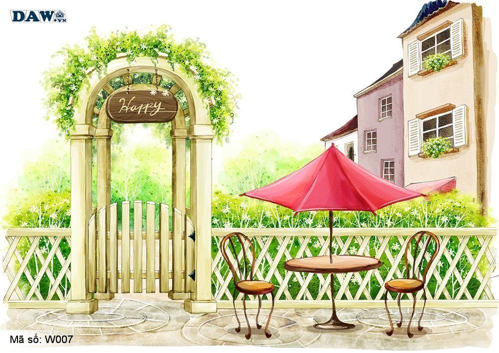 Tranh dán tường 3D Hàn Quốc, tranh dán tường nghệ thuật, công viên, nhà hàng W007