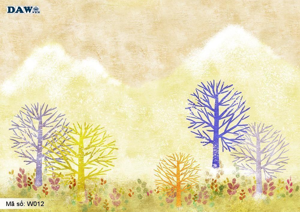Tranh dán tường 3D phong cảnh thiên nhiên, tranh vẽ công viên, vườn cây, hoa lá W012