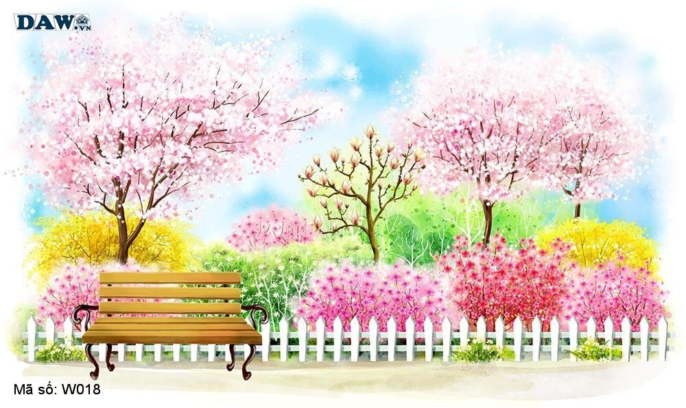 Tranh dán tường 3D phong cảnh thiên nhiên, tranh vẽ công viên, vườn cây, vườn hoa W018