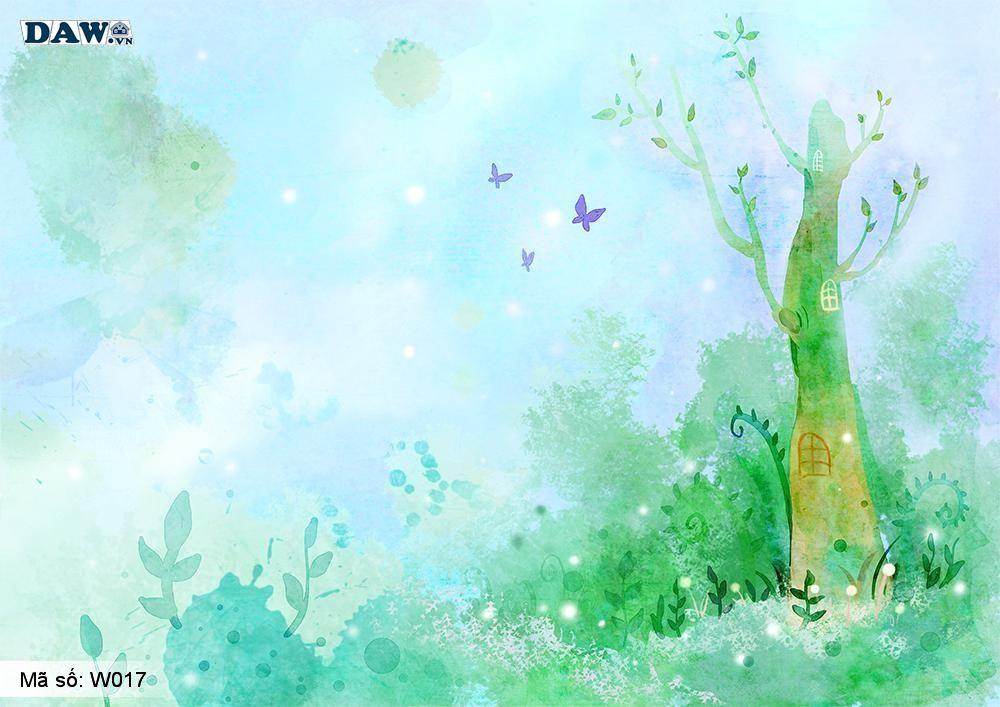Tranh dán tường 3D phong cảnh thiên nhiên, tranh vẽ công viên, vườn cây W017