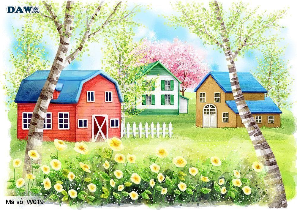 Tranh dán tường Hàn Quốc, phong cảnh thiên nhiên, công viên, vườn hoa cây cảnh W019