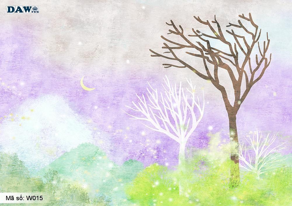 Tranh dán tường Hàn Quốc, tranh vẽ mực dầu, phong cảnh thiên nhiên, cây cối W015