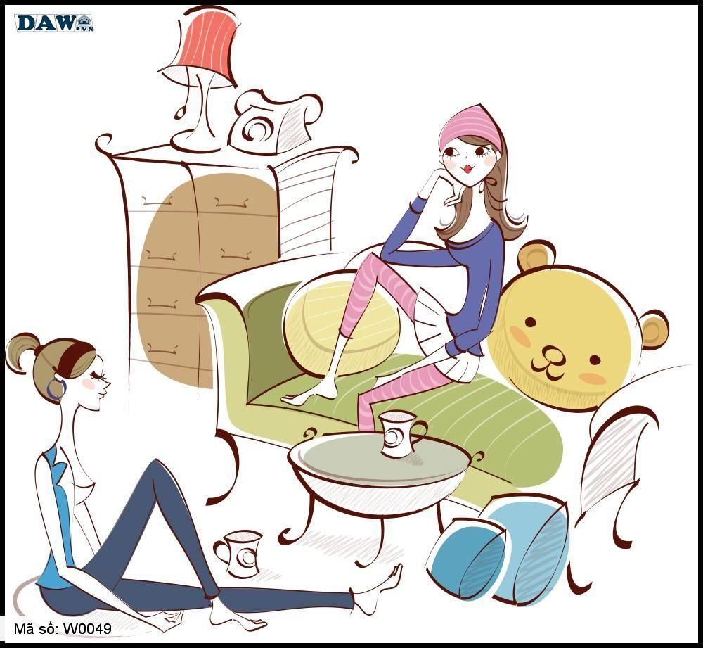 Tranh dán tường 3D, các cô gái đang ngồi trò chuyện cùng nhau trong phòng W0049