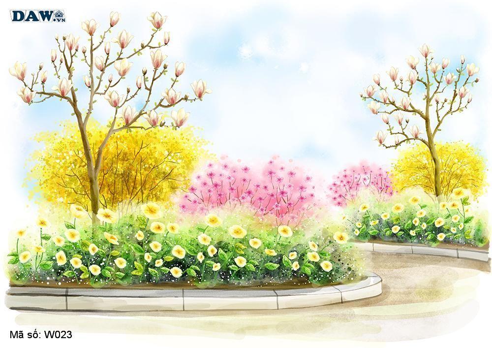 Tranh dán tường 3D Hàn Quốc, phong cảnh thiên nhiên, vườn hoa, cây cảnh W023