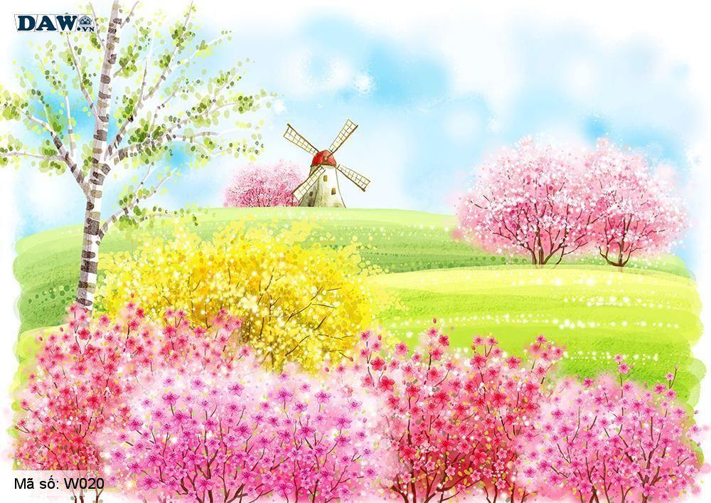 Tranh dán tường 3D Hàn Quốc, tranh vẽ phong cảnh thiên nhiên, công viên, vườn hoa W020