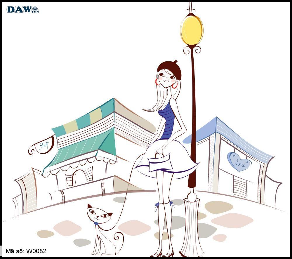 Tranh dán tường Hàm Quốc, hình ảnh cô gái dắt thú cưng đi dạo phố W0082