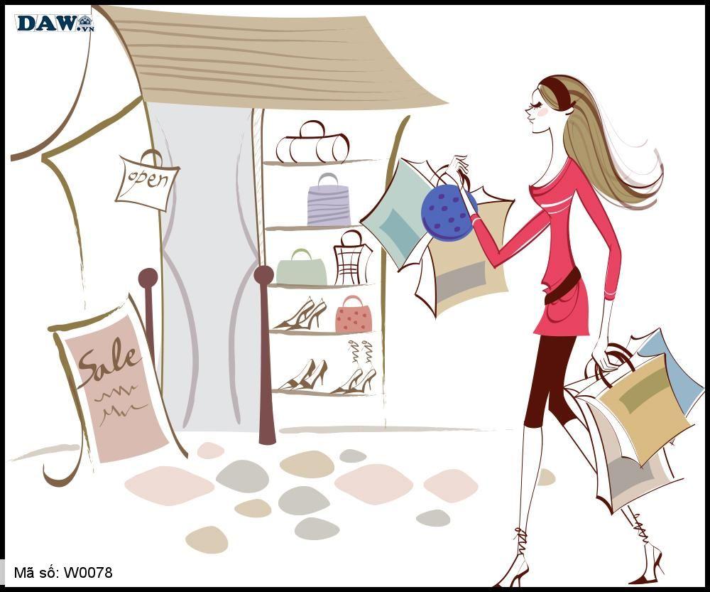Tranh dán tường Hàn Quốc, cô gái đang đi shopping W0078