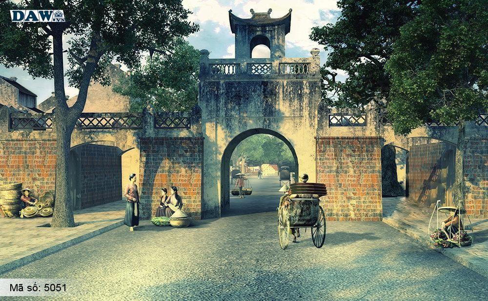 Tranh dán tường Hàn Quốc, góc phố, ngõ hẻm, đình làng 5051