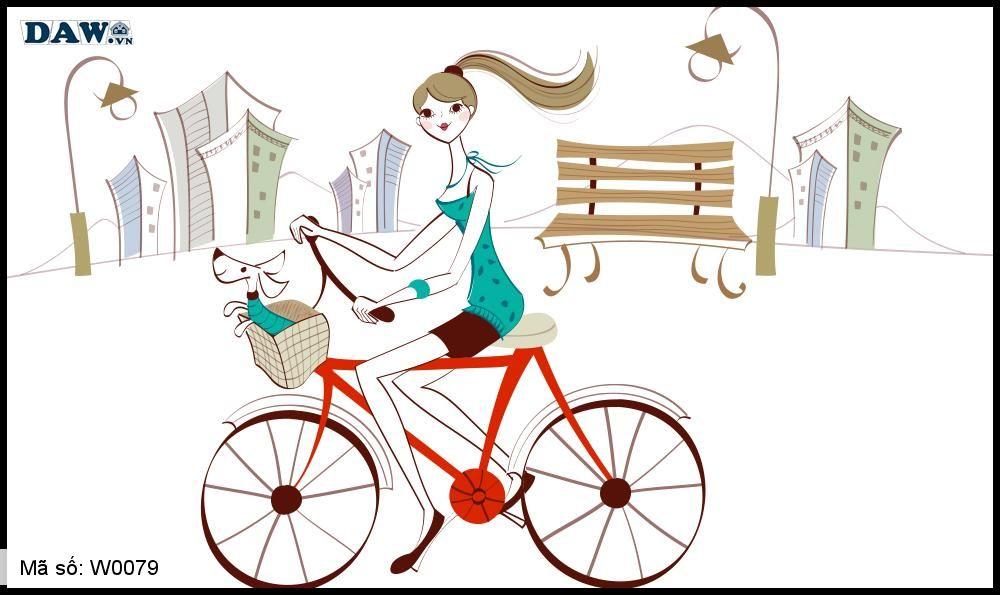Tranh dán tường Hàn Quốc, hình ảnh cô gái đang đạp xe cùng thú cưng W0079