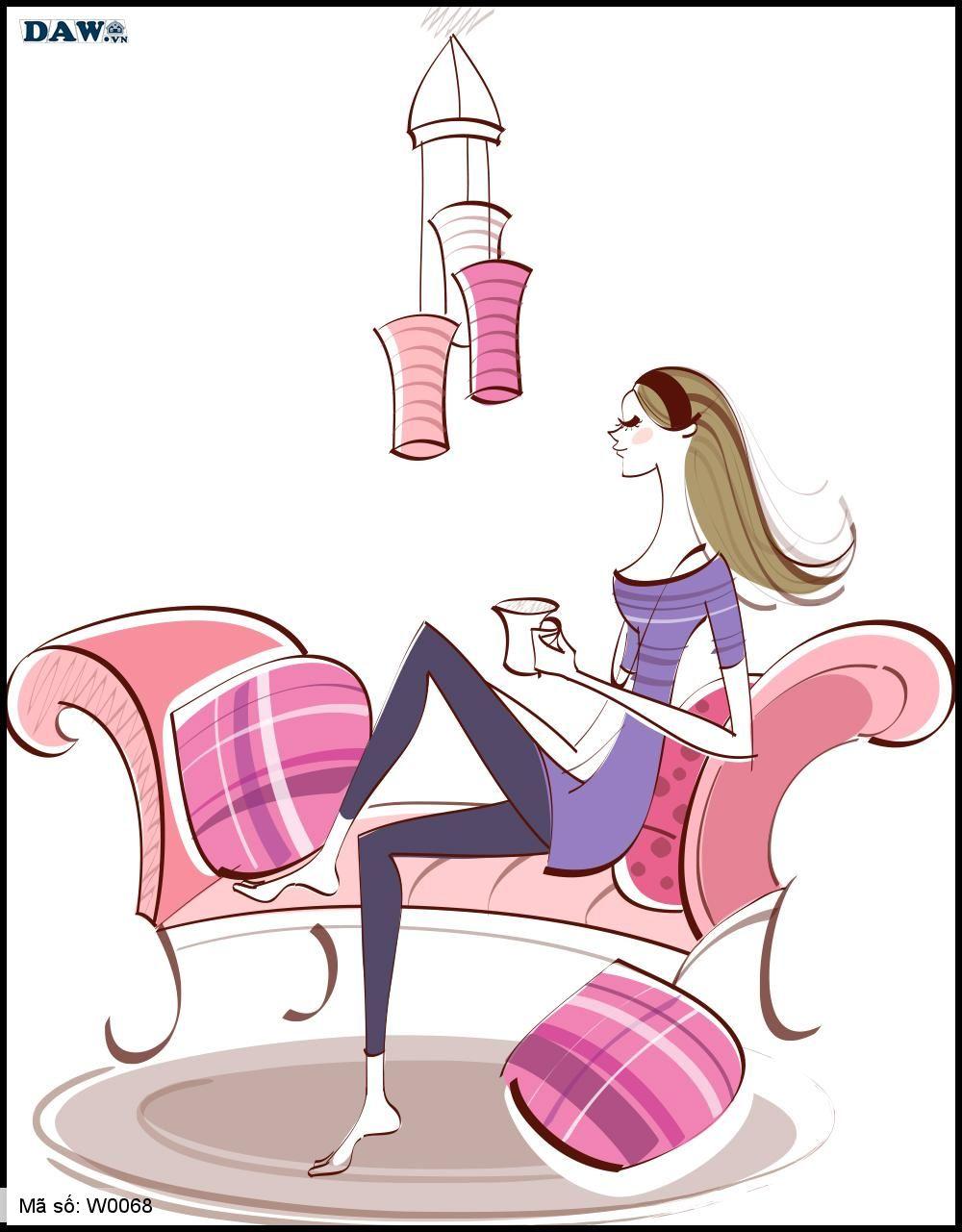 Tranh dán tường Hàn Quốc, hình ảnh cô gái đang ngồi uống Cafe W0068