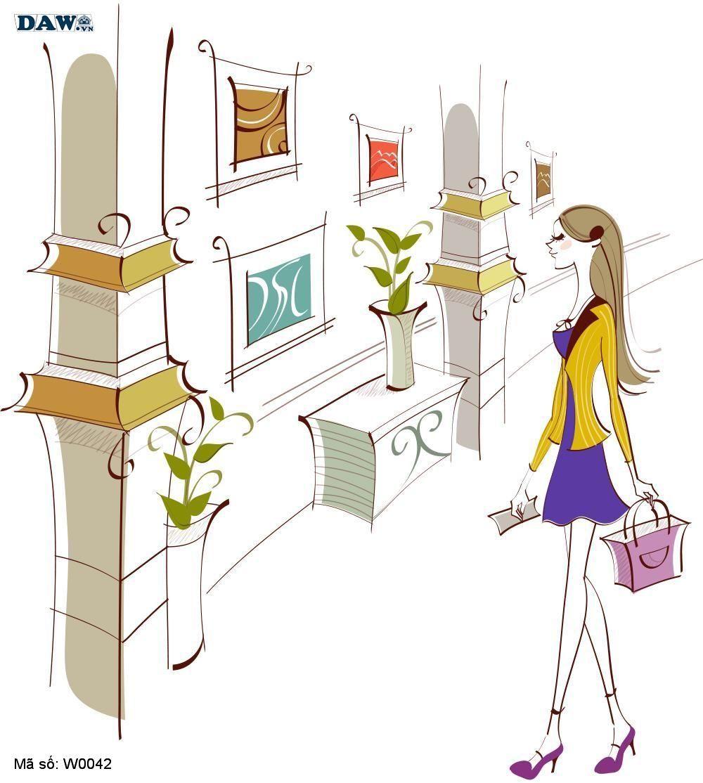 Tranh dán tường Hàn Quốc, hình ảnh cô gái đang shopping W0042