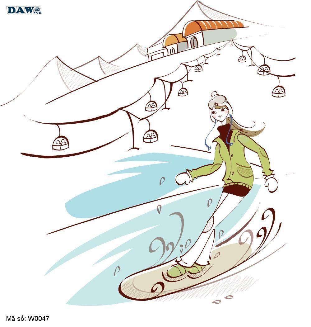 Tranh dán tường Hàn Quốc, hình ảnh cô gái đang trượt tuyết W0047