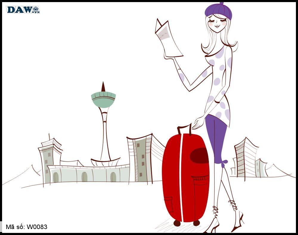 Tranh dán tường Hàn Quốc, hình ảnh cô gái dắt vali đi du lịch W0083