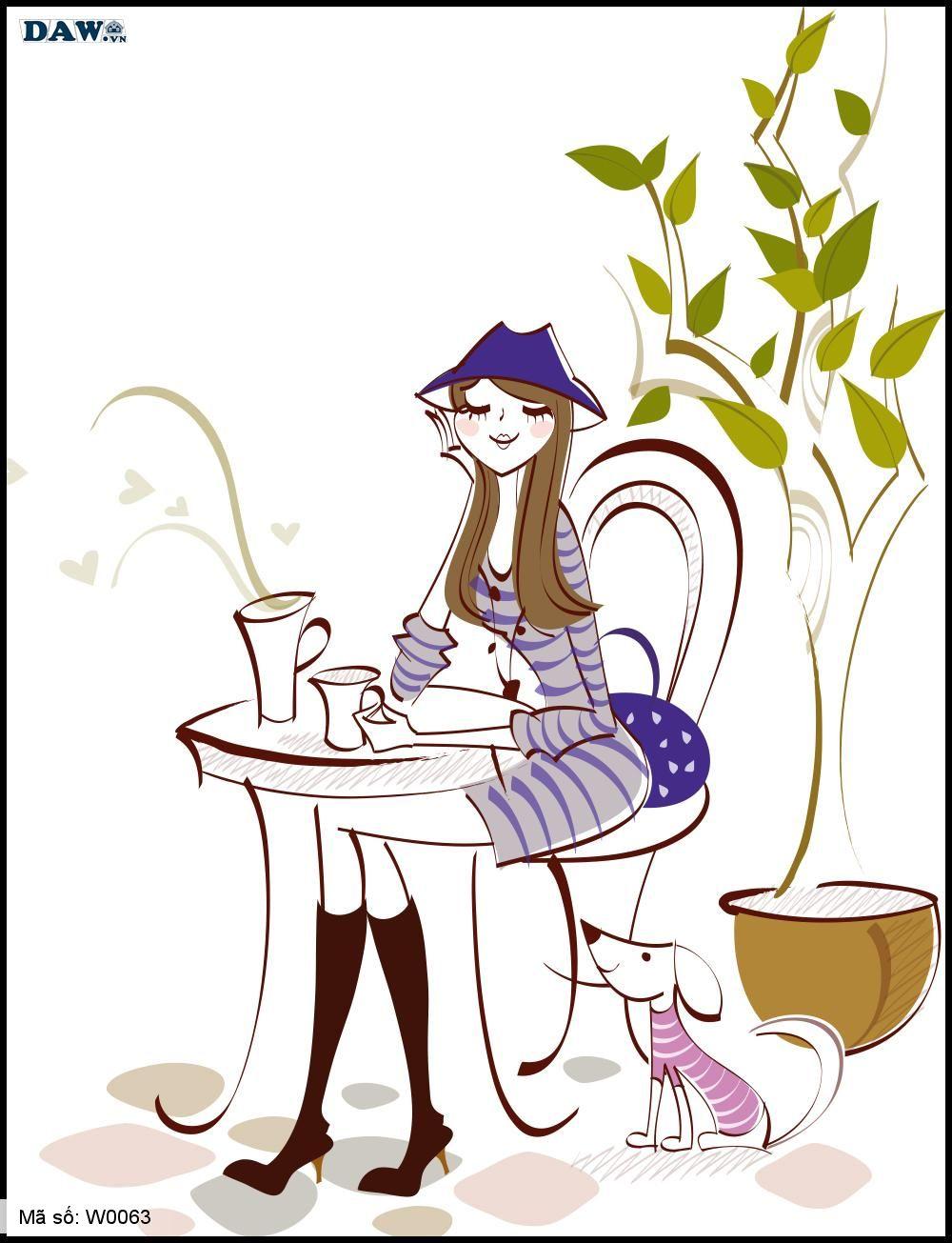 Tranh dán tường Hàn Quốc, hình ảnh cô gái ngồi uống cafe bên cạnh thú cưng W0063