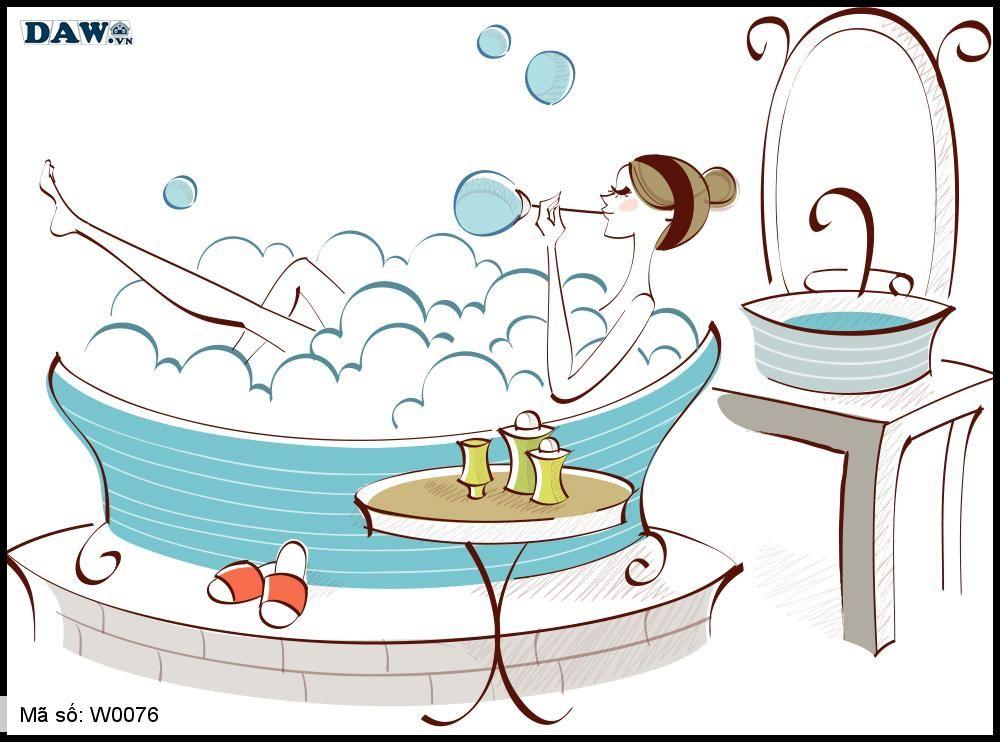 Tranh dán tường Hàn Quốc, hình ảnh cô gái trong bồn tắm W0076
