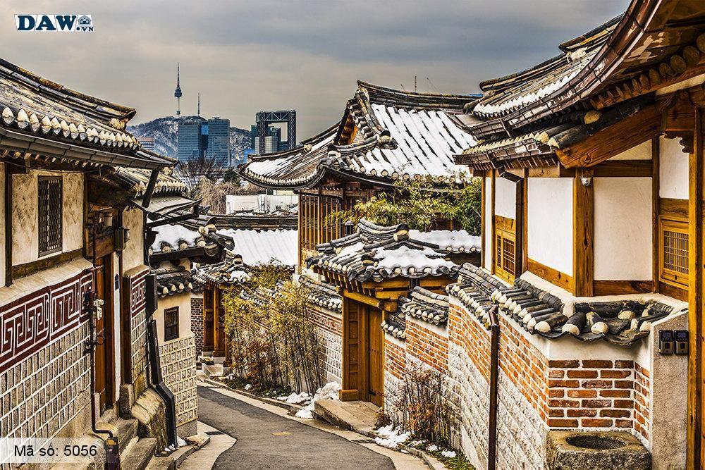 Tranh dán tường Hàn Quốc, lâu đài, góc phố, ngõ hẻm, con đường 5056